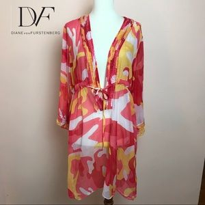 Authentic DVF Embellished Silk Cotton Cover-Up